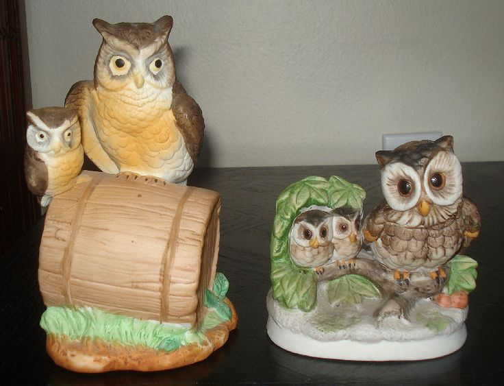 Beautiful 2 Vintage Owls With Baby Owls Porcelain Figurines Collectibles Owl Home Art  Decor
