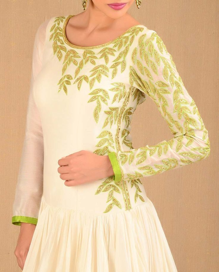 Off White Cocktail Suit With Dupatta  | Exclusively.in Dropped-waist with gathers on churidar anarkali suit