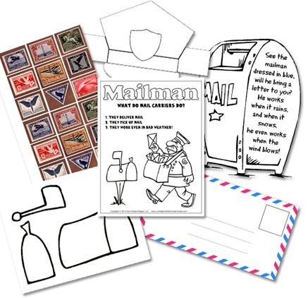 Confessions of a Homeschooler has a fun Kindergarten Mail Carrier Unit - free!  Be sure to check our other featured Free Printables. SUBSCRIBE HERE!