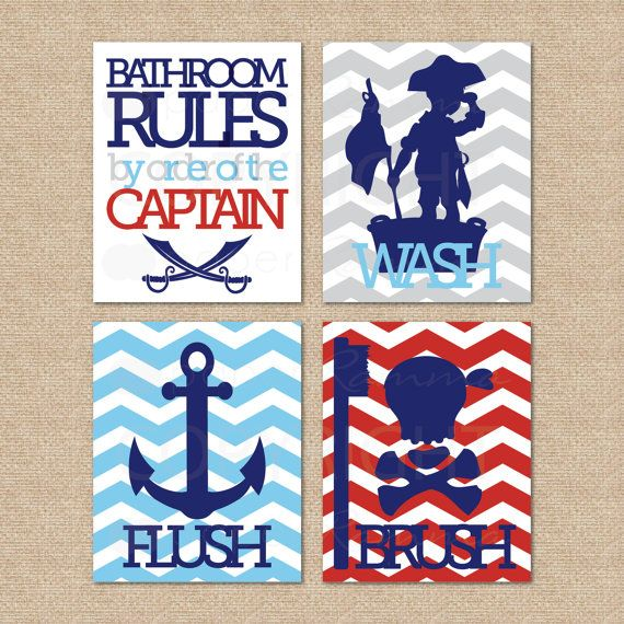 Pirate Bathroom Rules...by order of the Captain...Wash, Brush, Flush // 4 Print Set // Kids Bathroom Giclée Prints // N-L04-4PS AA1