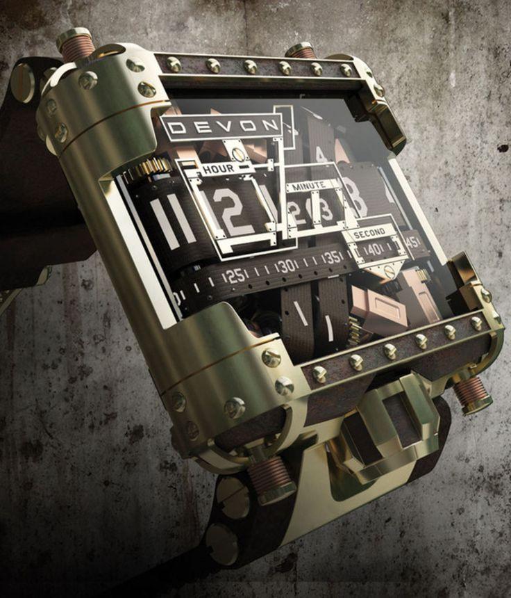Den amerikanska klocktillverkaren Devon kommer nu med en special-version i steampunk-utförande av sina analoga x22digitalx22-klockor. Urverket är, till skillnad från många andra klocktillverkares, av egen design och som synes så förflyttas timmar, minuter och sekunder av en analog mekanism. Devons klockor brukar vara väldigt dyra och den här klockan, som görs i en begränsad upplaga, är inget undantag. 25 000 dollar styck vill man ha för dem.