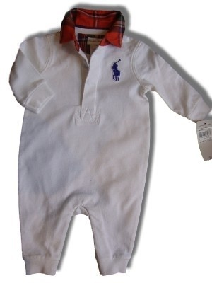 Ralph Lauren Polo big Pony white boys one piece romper baby grow age 3m | eBay
