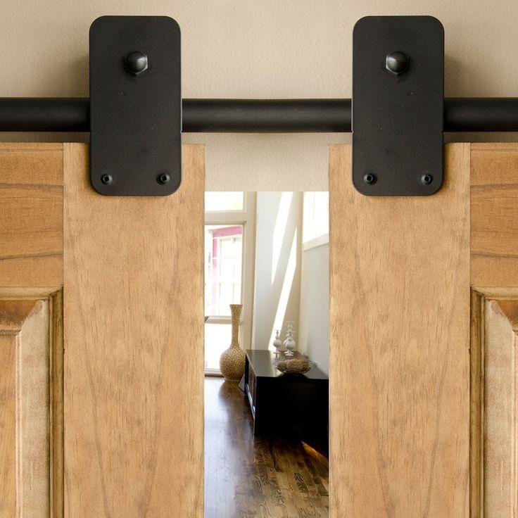 Black plato hanger double sliding barn door hardware kit