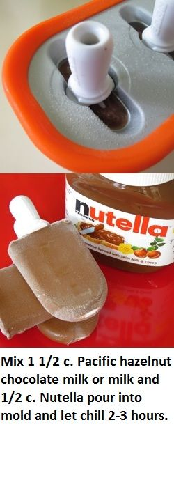 Nutella Fudgesicles  Used white whole milk and added a couple of spoonfuls of cocoa powder.