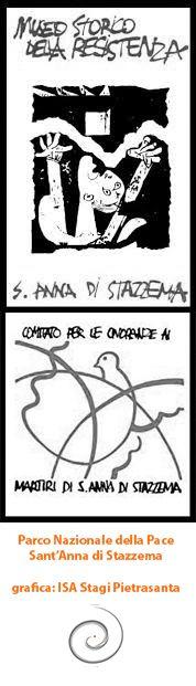 """Logotipi per """"Museo storico della Resistenza"""" e """"Comitato Onoranze ai Martiri di Sant'Anna di Stazzema"""". Progetto grafico: ISA Stagi Pietrasanta, 1991."""