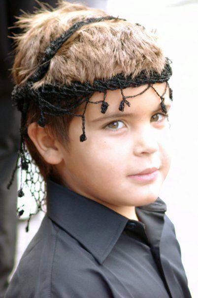 Greek Cretan crocheted head scarf sariki.