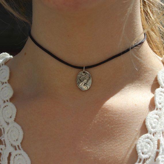 Choker Charm Necklace Silver Cameo 90s Choker by CelticBijou