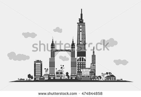 Silhouette of urban district of town or city with truck or lorry near gas station and recycle cans under clouds. Contour drawn panorama view of urban residential municipality structures or buildings