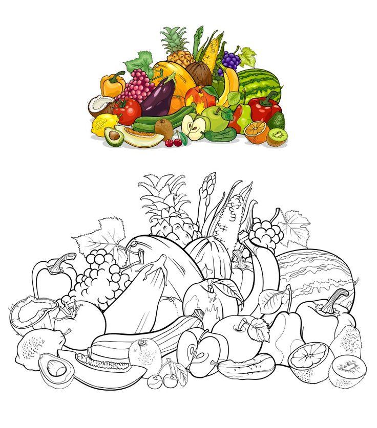 """Раскраска """"Овощи и фрукты"""" #рисование #овощи #фрукты # ..."""