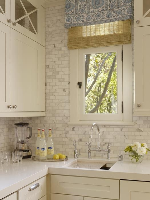 love the counter tops, backsplash, and cabinets: Decor, Marbles Subway Tile, Back Splash, Kitchens Ideas, Kitchens Backsplash, Window Treatments, House, Marble Subway Tiles, White Kitchens