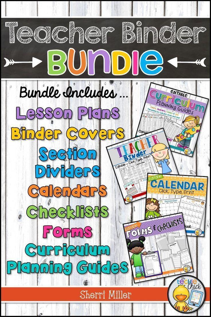 Editable Teacher Binder BUNDLE – Click, Type, Print Templates | TpT ...