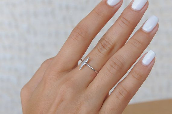 Tiny lightning bolt ring thunder ring 925 sterling by Wavejewels