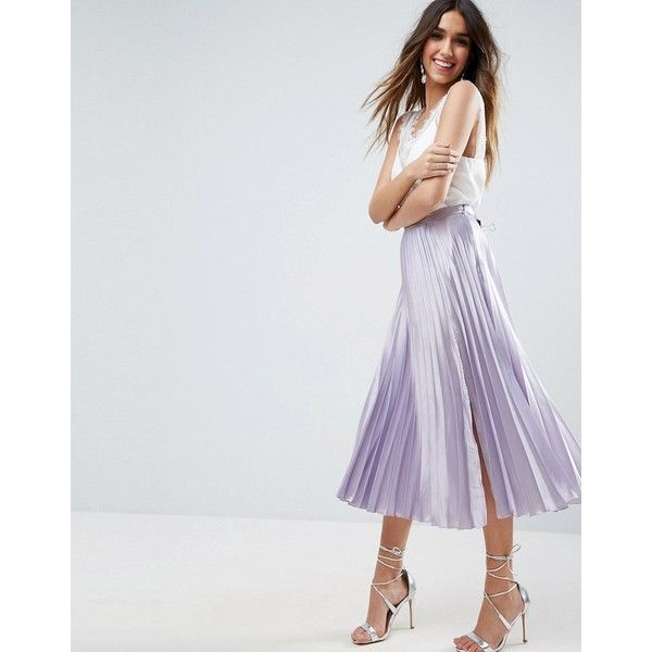 ASOS Satin Pleated Midi Skirt with Splice (70 CAD) ❤ liked on Polyvore featuring skirts, purple, high waisted midi skirt, high waisted pleated skirt, metallic pleated skirt, pleated skirt and calf length skirts