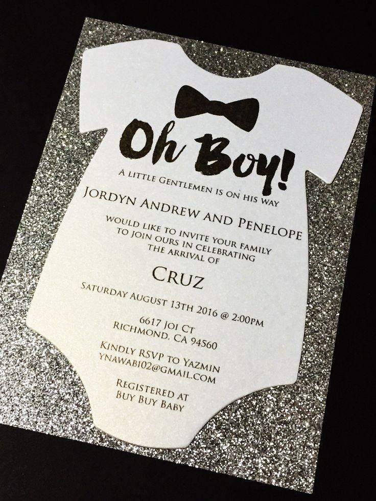 bridal shower invitations free printable templates%0A Glitter Onesie Baby Shower Invitations  Boy Baby Shower Invite CRUZ  Set  of
