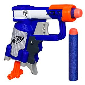 NERF Jolt Mini Blaster. It's like the Noisy Cricket of NERF! Super small NERF gun with a powerful punch. Shoots over 40 feet! Two Elite darts included.