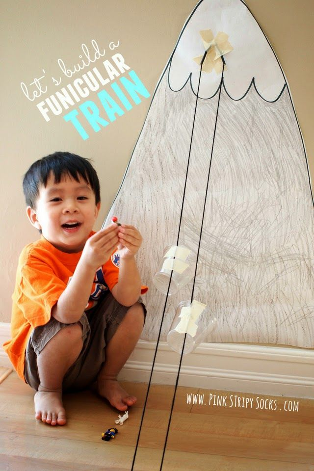 how to build a funicular train with kids- great transportation craft and activity for train lovers!