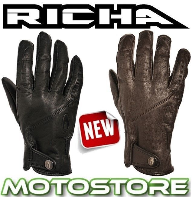 RICHA SCOOT LEATHER TOURING MOTORCYCLE MOTORBIKE GLOVES BLACK BROWN SCOOTER