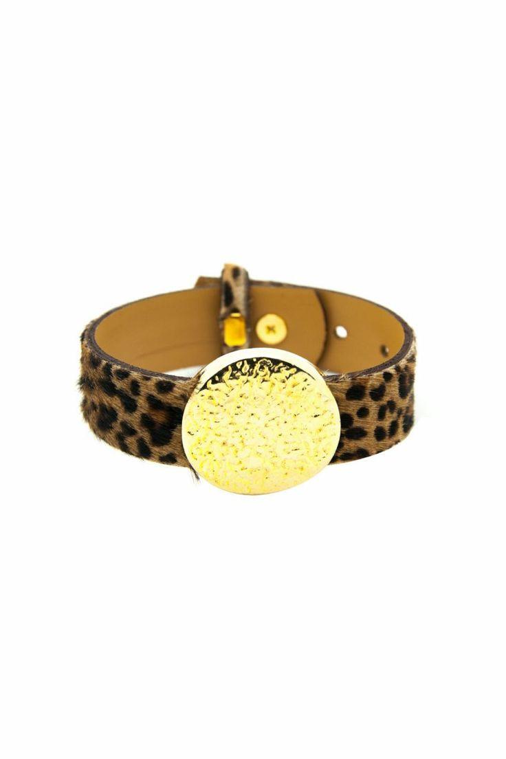 Yuvarlak Altın Kaplama Leopar Desenli Dana Derisi Bileklik. Tasarım. Leather bracelet.
