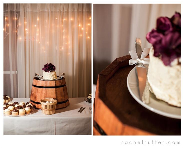 half oak barrel wedding cake stand - Gladbrook, IA Wedding: Emily + Austin