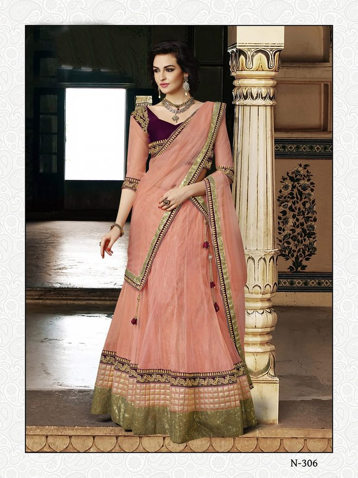 buy saree online Peach Colour Net Designer Sequins Work Wedding Wear Lehenga Choli Buy Saree online UK  - Buy Sarees online