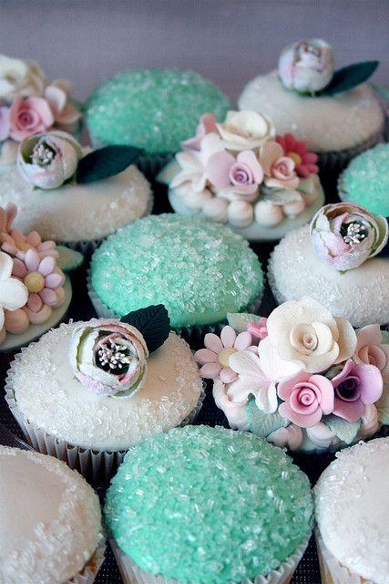 Aqua and White Delicious Cupcakes