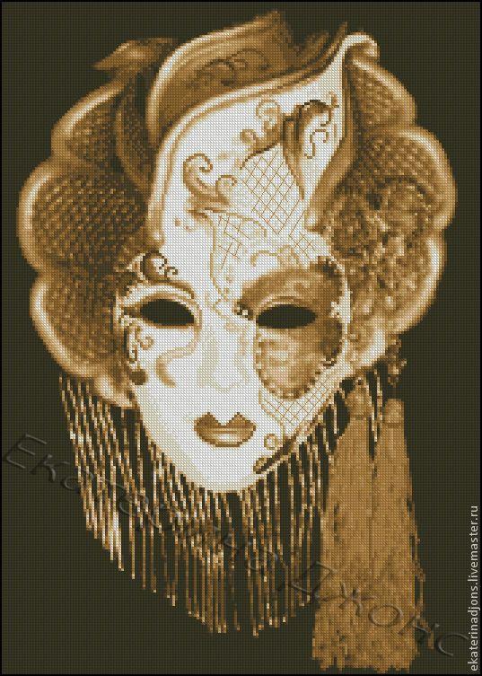 """Купить Авторская схема вышивки крестом """"Венецианский карнавал-маска"""" - бежевый, схема для вышивки, схема"""