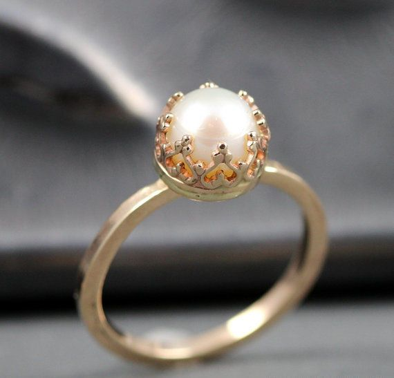 Gold crown pearl engagement ring