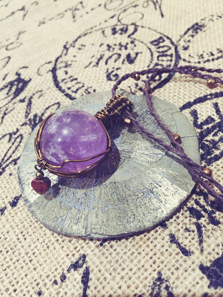 Amethyst Crystal Ball Wire Wrap Pendant Necklace by EarthMamasCrystals on Etsy
