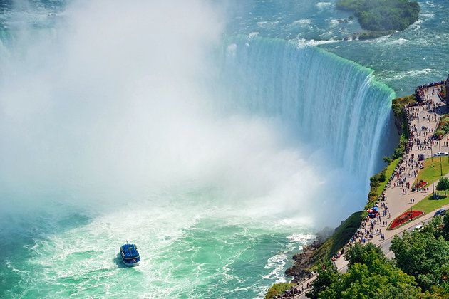Niagara Falls is Canada's most internationally recognized attraction, visited by millions of tourists each year. While there are actually three sets of falls, the largest section, known as Horseshoe Falls, drops approximately 57 meters creating a great wall of water that stretches between Niagara Falls, Canada and Niagara Falls, USA. The falls are famous primarily for the large volume of water flowing over them, but combined with the huge drop it is truly a magnificent sight.