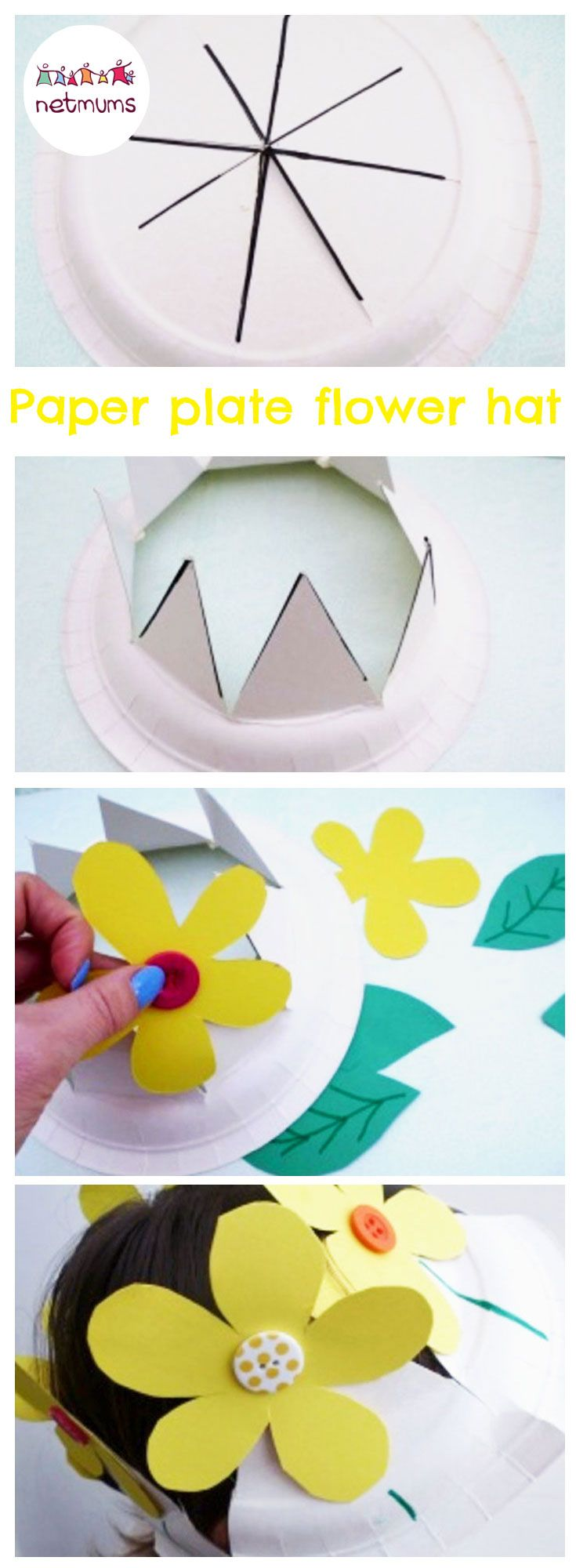 Make this super cute Easter bonnet in minutes. All you need is a paper plate and some card to whip up a gorgeous Easter bonnet.