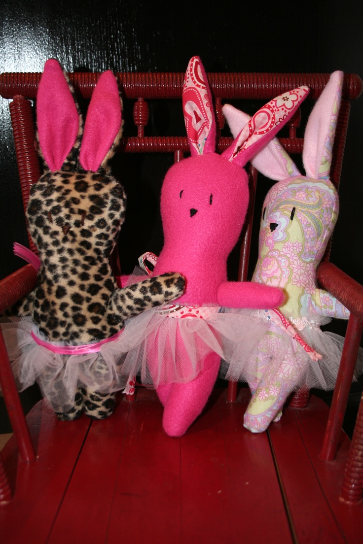 """Every year I make these cute stuffed bunnies (I made over 100 this past year).  They make the perfect """"loving thing"""" to add to a child's Easter basket!  These are some of my 'girl' bunnies with tutus...but I have lots of 'boy' bunnies I sew too!"""