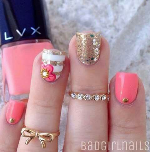 tricolor  perfectly quaffed in 2019  nails coral nail