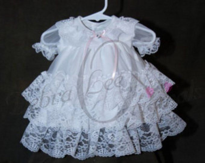 Chloe niña vestido de bautizo para bebés / blanco vestido de bendición
