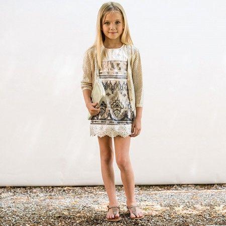 Illudia - Gold Sequin Leather Dress   Childrensalon