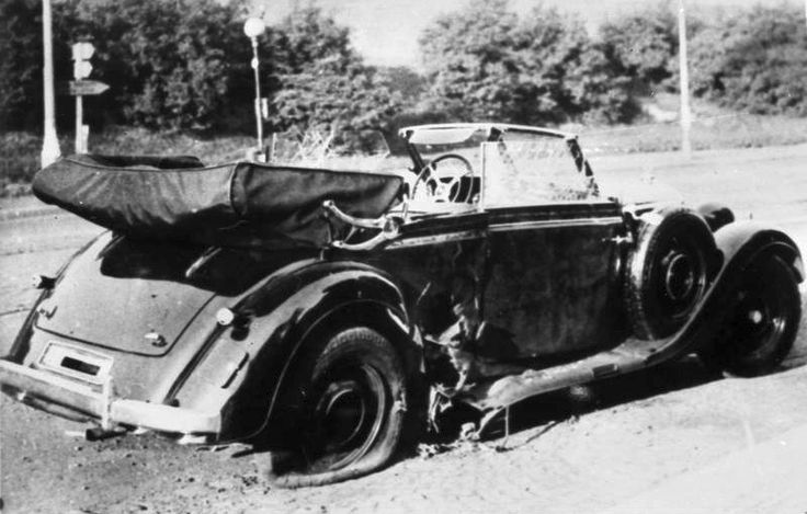 Reinhard Heydrich's car (a Mercedes 320 Convertible B) after the 1942 assassination attempt in Prague. Heydrich later died of his injuries. In retaliation the Nazis murdered over 5000 czechs.