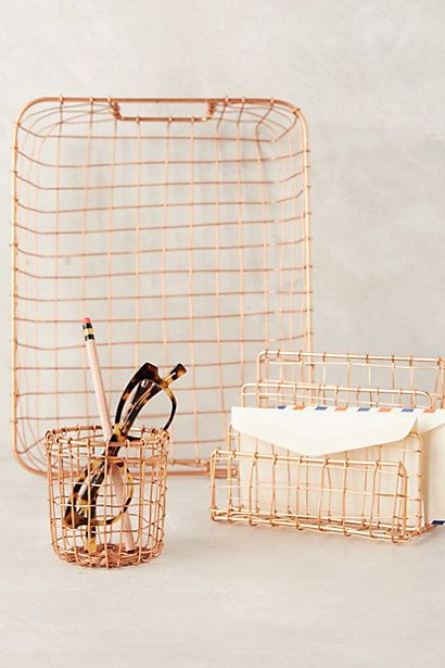 Copper Lattice Desk Collection Magazine Tray, Letter Sorter, and Pencil Holder #anthropologie