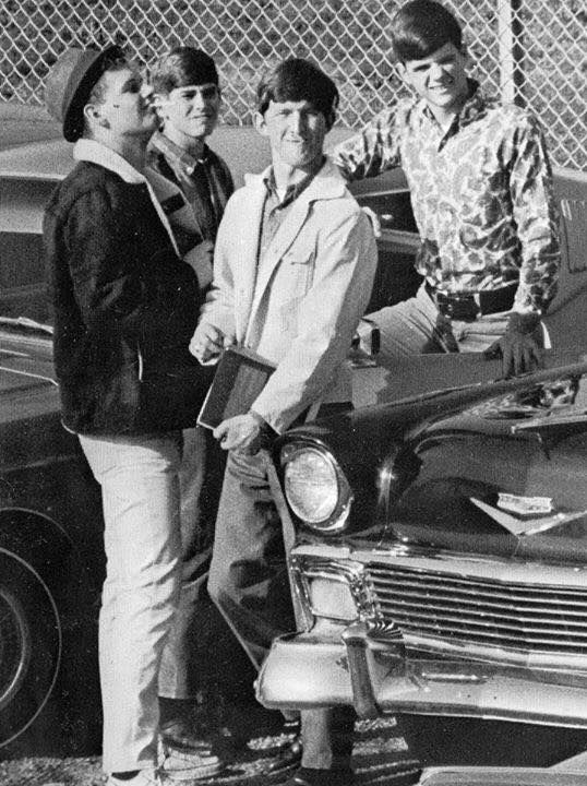 TennyWilson, John Baker, Barry Burton and Billy Ray Mabry in West Tallahatchie High School parking lot