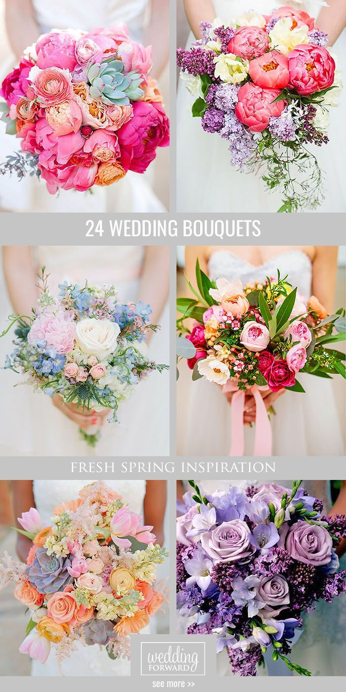 24 Fresh Spring Wedding Bouquets ❤ Spring it's time to break all floral traditions and enjoy fresh flowers. See more: http://www.weddingforward.com/spring-wedding-bouquets/ #wedding #bouquet