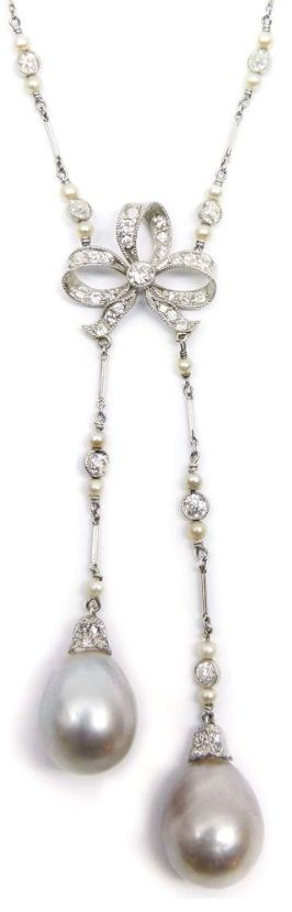 Detail: Antique diamond bow and pearl sautoir, cira 1905. Via Diamonds in the Library.