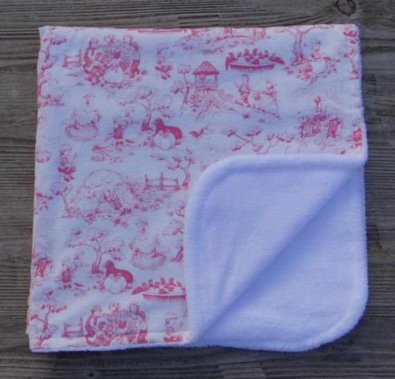 Pink Nursery Rhyme Toile 100% Cotton Calico Fabric Baby Blanket w/soft minky backing