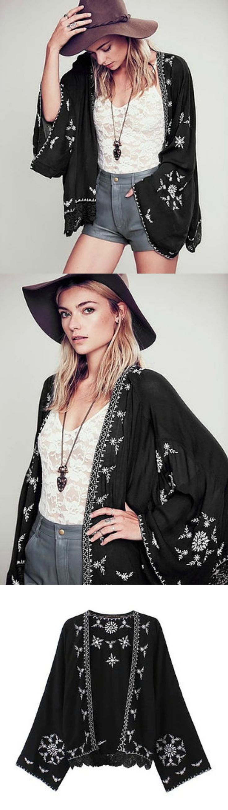 Black Kimono Cardigan is Available @ PASABOHO ( Free Shipping Worldwide ) ❤️ boho fashion :: gypsy style :: hippie chic :: boho chic :: outfit ideas :: boho clothing :: free spirit :: fashion trend :: embroidered :: flowers :: floral :: lace :: summer :: love :: street style :: fashion style :: boho style :: bohemian :: modern vintage :: ethnic tribal :: embroidery dress :: jacket :: skirt :: Coachella :: festival outfit