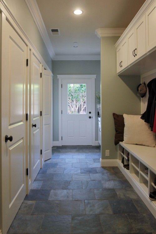 Mudroom: Slate flooring, wall color, built-ins, moulding