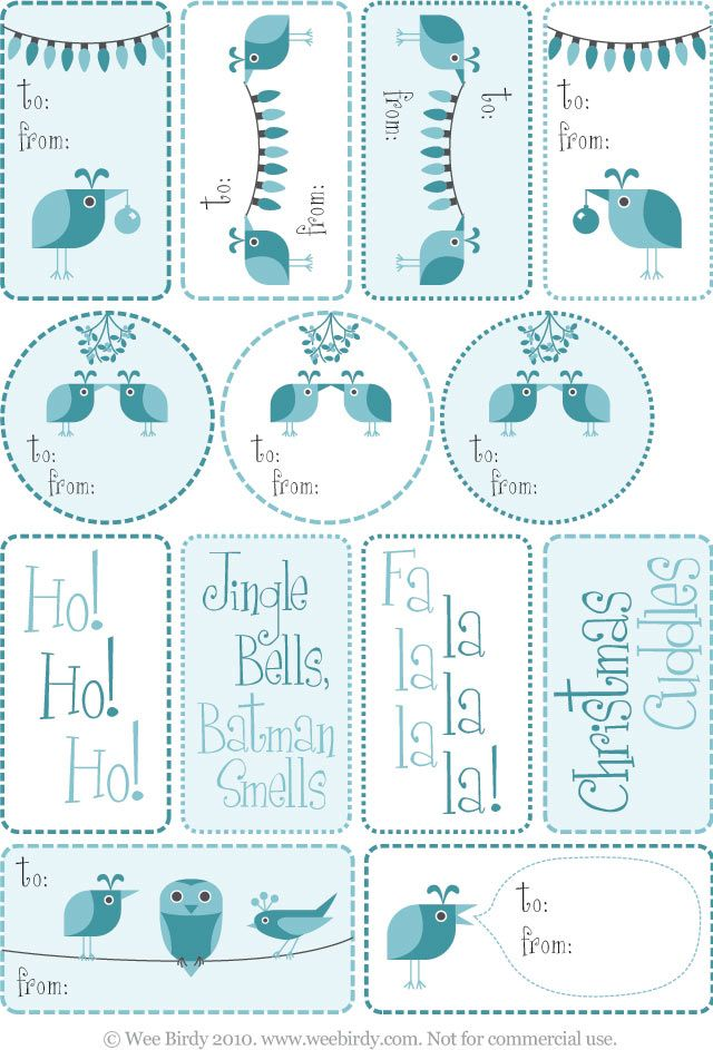 Free printable Christmas tags by Wee Birdy.