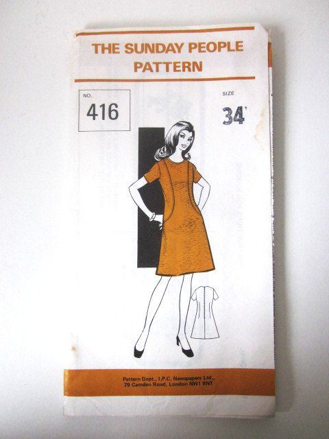 Vintage 1960′s The Sunday People Dress Sewing Pattern Bust 34″ Mail Order
