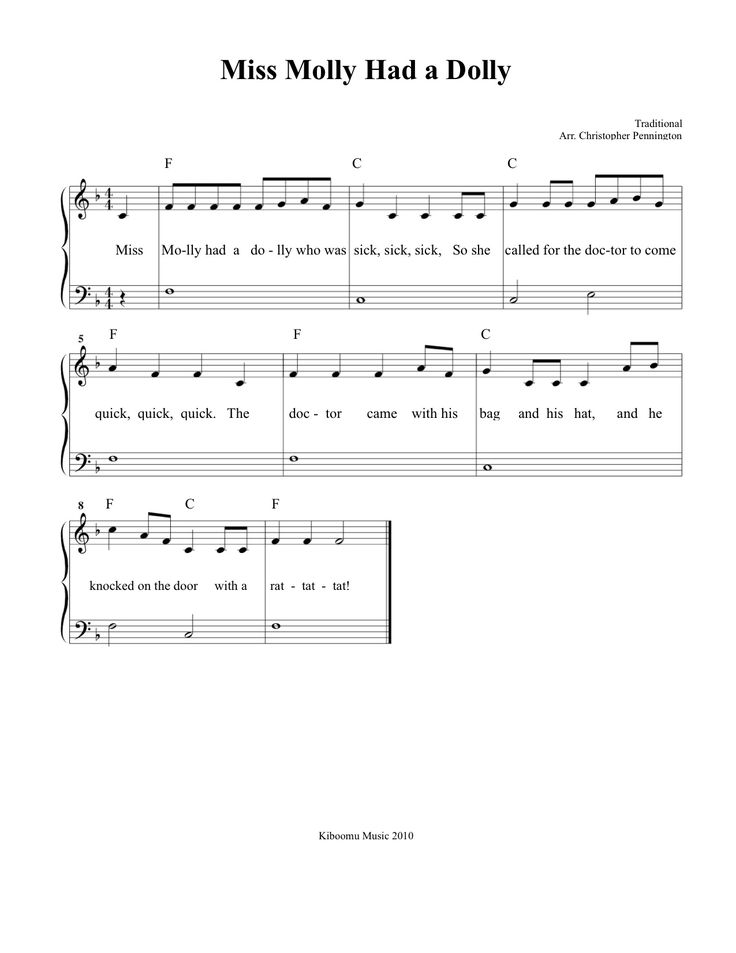 Free Printable Miss Molly Had a Dolly Sheet Music and Song ...