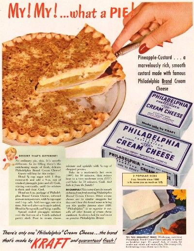 §§§ : Pineapple-Custard Cheesecake : Philadelphia Cream Cheese advertisement : 1950 : http://pzrservices.typepad.com/vintagerecipes/