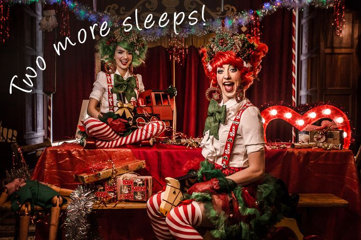 Two more sleeps till Christmas quote. A very festive image of girls dressed up as elves. Very elabroate make up and costume!
