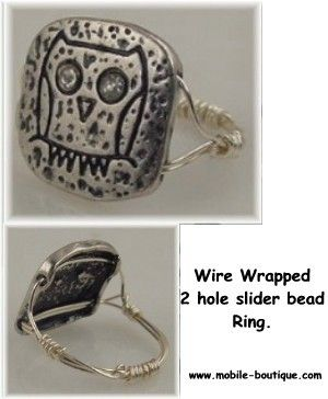 Wire wrapped owl Slider Bead Ring - Mobile Boutique