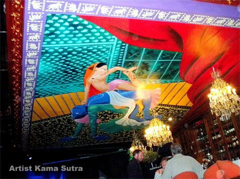 Artist Kama Sutra - Magnificent ceiling mural on the ceiling of the LazyBones Lounge Marrickville <3