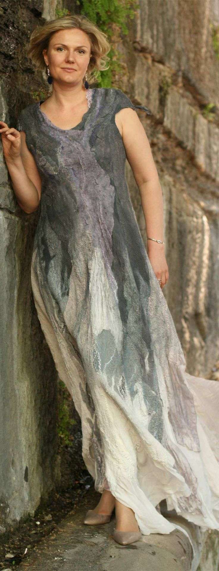 Fashion bridal nuno felted dress by Vera Alexanderova. #felt #nuno #nunofelt #bridal #bridaldress #boho #bohostyle #bohochic